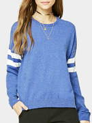 Blue Casual Round Neck Stripe Pattern Top