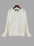 Pullover Plain White Color Ahuecar Out Sleeves Detail Sweater