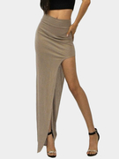 Brown Sexy Medium Waist High Splited Irregular Hem Maxi Bodycon Skirt