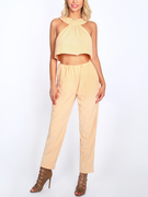 Yellow Sleeveless High Waist Halter Co-ord