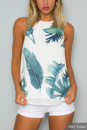 High Neck Random Leaf Print Chiffon Cami Top in White