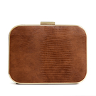 Lizard Effect ocasião do Couro-olhar Box Clutch Bag in Brown