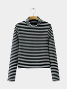 Simple Stripe Long Sleeve Top in Black