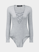 Grey Lace Up Bodysuit In Knit