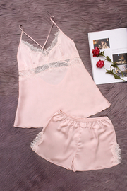 Pink Hollow Out Lace detail V-neck Crossed Slip Pajamas