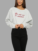 Light Grey Crop Sweatshirt with Letter Embroidery Pattern