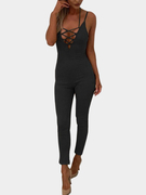 Black Lace-up V-neck Bodycon Jumpsuit