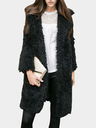 Black Fluffy Longline Coat