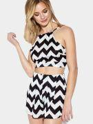 Black & White Semi Sheer Wave Print Co-ords