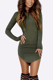 Round Neck Curved Hem Bodycon Fit Dress in Army Green
