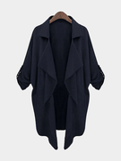 Blue Irregular Hem Button Details Lapel Collar Trench Coat