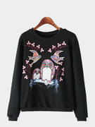 Long Sleeves Sweatshirt with Owl Pattern