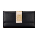 Studded Foldover Leather-look Bolsa Longa em preto