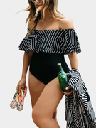 Sexy Off Shoulder Stripe Pattern Bodycon Swimwear