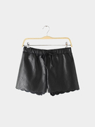 Black Hollow Out Shorts with Scollop Hem