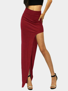 Burgundy Sexy Medium Waist High Splited Irregular Hem Maxi Bodycon Skirt