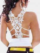 White Sexy V-neck Hollow Out Lace Vest