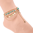 Layered Design Beads and Sequins Anklet Jewelry