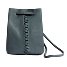 Drawstring Leather Bucket Bag in Cool Grey