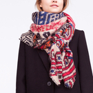 Geometrical Pattern Wrap Scarf with Tassel Detail