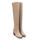 Apricot Suede Heel Over The Knee Boots