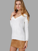 Pure Color Plunge Back Jumper with Long Sleeve