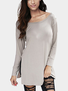 Grey V Pattern Back Dentelle Hollow Out Staple Blouse