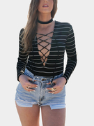 Black Stripe Long Sleeve Lace-up Bodysuit