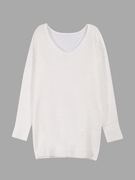 Blanco Mohair V Neck Jumper de manga larga