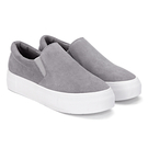 Grey Casual Suede Round Toe Slip-on Loafers