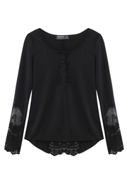 Black Lace Insert Bell Sleeve Blouse