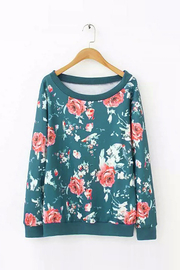 Flower Print Long Sleeve Sweatshirt