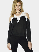 Black Cold Shoulder Crochet Lace Blouse