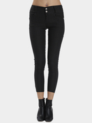 Black Bodycon Botton Fechamento Moda Leggings