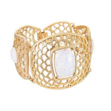 Golden Cut Out Cuff with Stone Detail