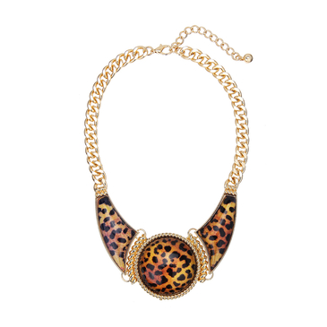 Leopard Print Jewel Necklace