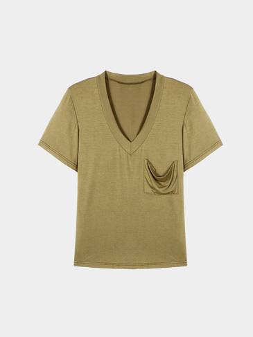 Deep V-neck T-shirt With Pocket In Olive-green