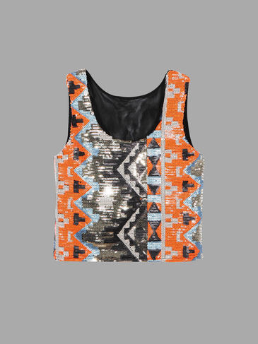 Orange Geometrical Crop Vest Top With Sequins