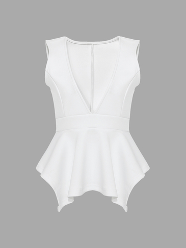 Deep V-neck Vest Top In White