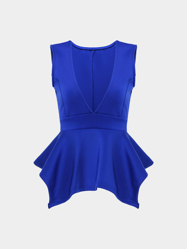 Deep V-neck Vest Top In Blue