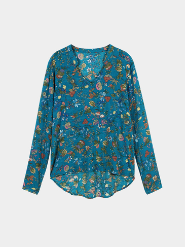 Multicolor V Neck Floral Dipped Hem Blouse