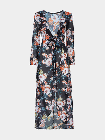Floral Print Semi Sheer Maxi Dress With Hi-lo Hem