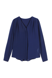 Deep Blue Chiffon Blouse With Long Sleeve