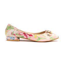 Floral Pointed Flat Shoes With Bow Detail