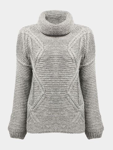 Cable Sweater with High Roll Neck