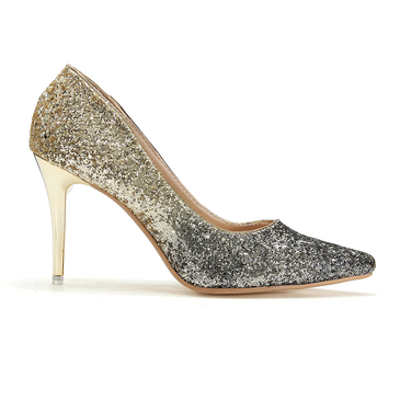 Gold Glitter Heel Shoes