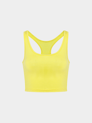 Yellow  Crop Top With Scoop Neckline