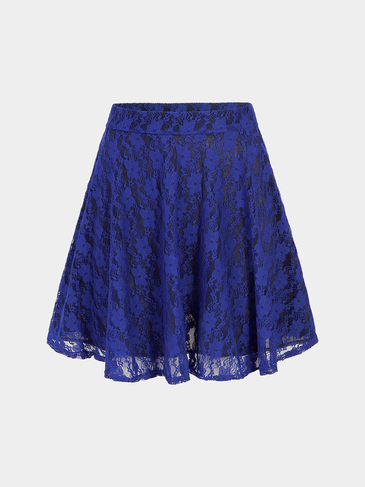 A-line Floral Print Lace Skirt In Blau