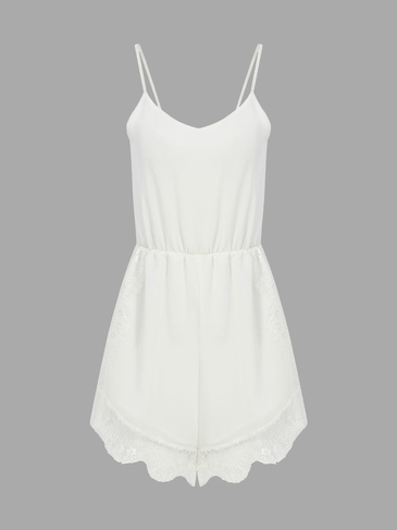 Chiffon Cami Playsuit With Lace Detail In White