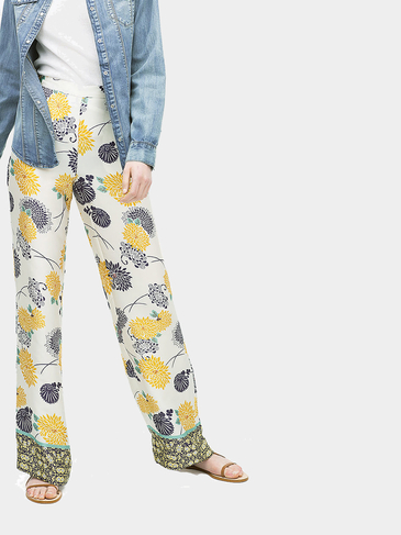 High Waist Chrysanthemum Print Wide Leg Trousers